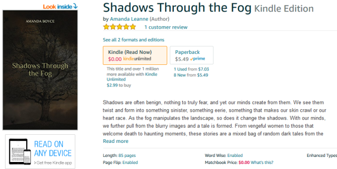 2 Weeks left on KU before Shadows Through the Fog Goes Wide